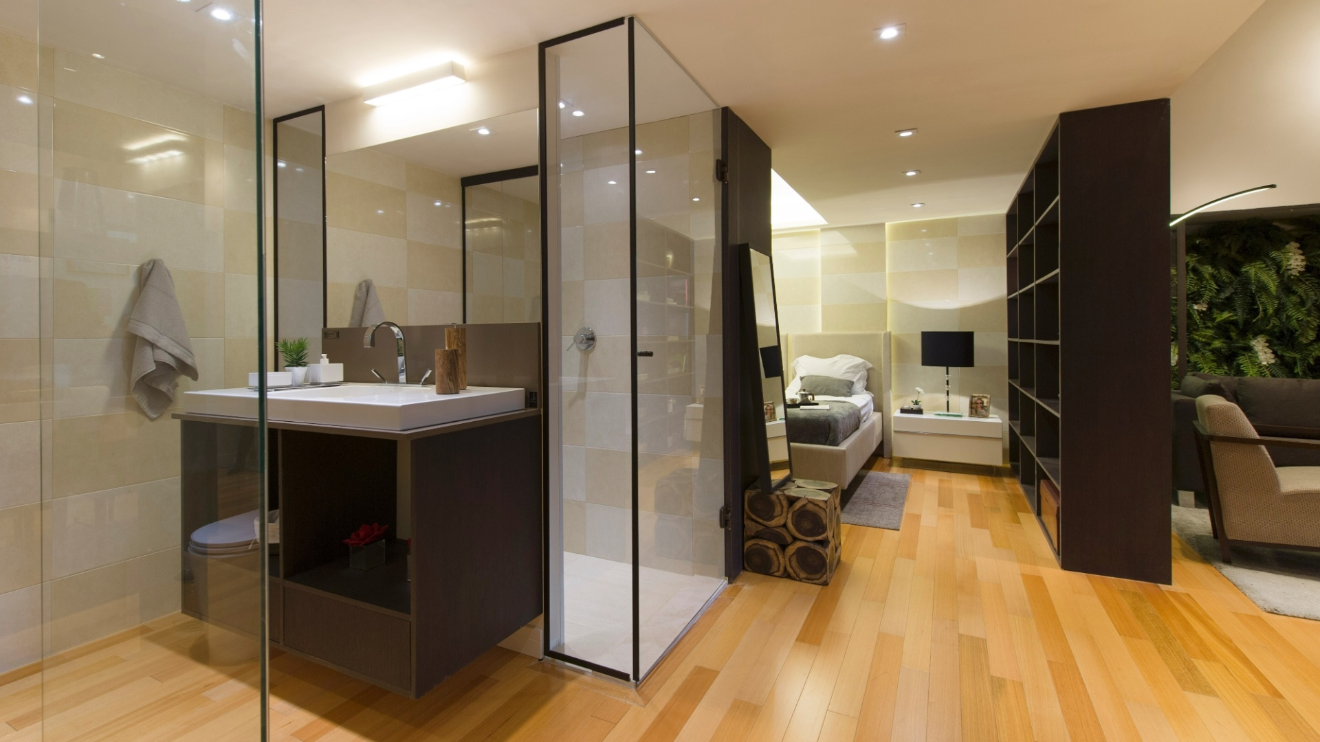 Quarto com banheiro integrado sofisticado ou ousado demais? Lopes  #B47617 1920 1080